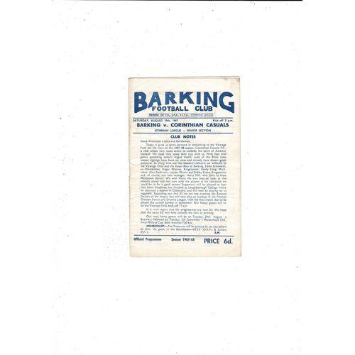 1967/68 Barking v Corinthian Casuals Football Programme
