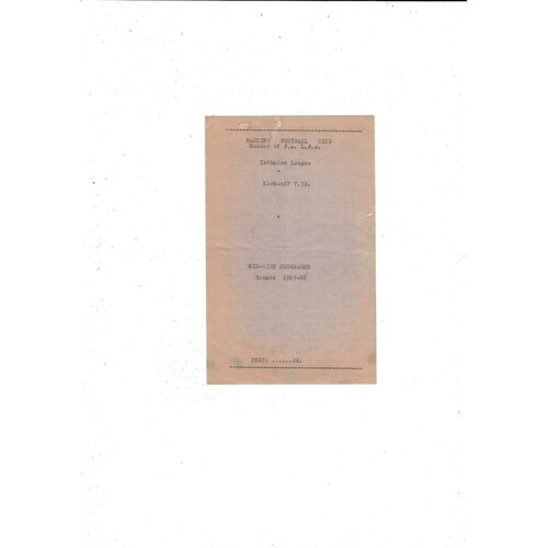 1967/68 Barking v Dulwich Hamlet Football Programme