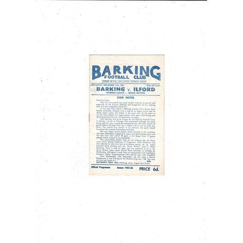 1967/68 Barking v Ilford Football Programme