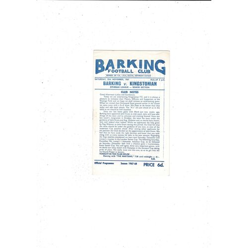 1967/68 Barking v Kingstonian Football Programme