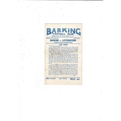 1967/68 Barking v Leytonstone Football Programme