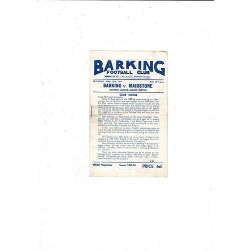 1967/68 Barking v Maidstone Football Programme
