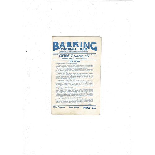 1967/68 Barking v Oxford City Football Programme
