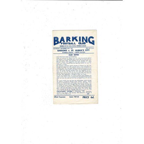 1967/68 Barking v St Albans Football Programme