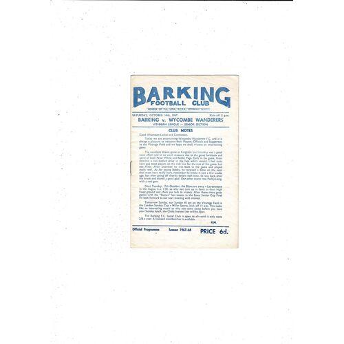 1967/68 Barking v Wycombe Wanderers Football Programme