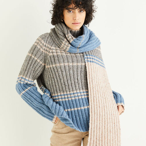 Funnel Neck Sweater & Scarf Pattern 10295