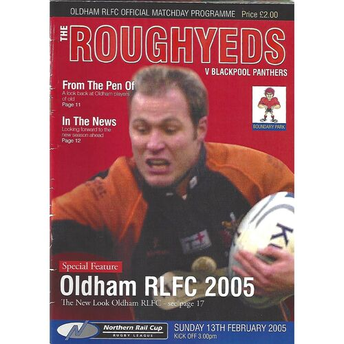 2005 Oldham v Blackpool Panthers Northern Rail Cup Rugby League Programme