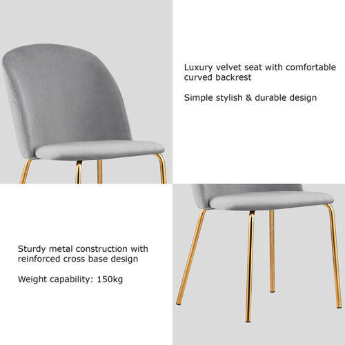 Set of 2 Dale Velvet Dining Chairs with Golden Finish Metal Legs (Light Grey)