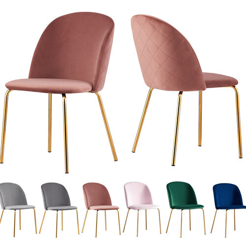Set of 2 Dale Velvet Dining Chairs with Golden Finish Metal Legs (Pink)