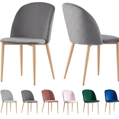Set of 2 Bradley Velvet Dining Chairs with Wood Effect Metal Legs (Grey)