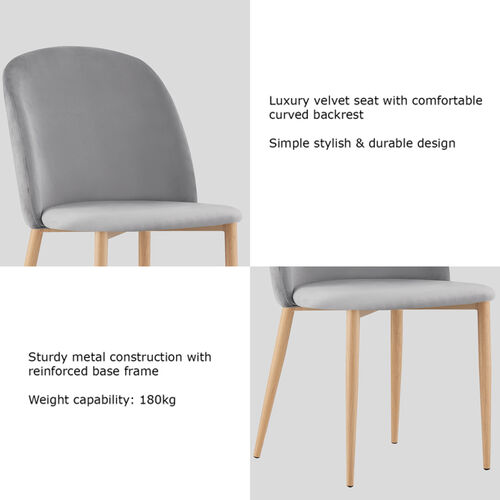 Set of 2 Bradley Velvet Dining Chairs with Wood Effect Metal Legs (Light Grey)