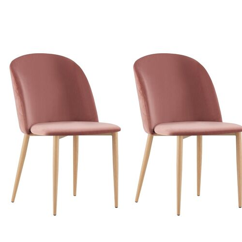 Set of 2 Bradley Velvet Dining Chairs with Wood Effect Metal Legs (Pink)