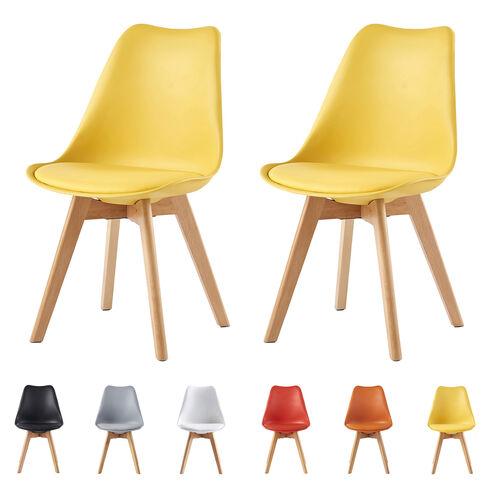 Eva Deluxe Dining Chairs Deluxe Wooden legs (Yellow)