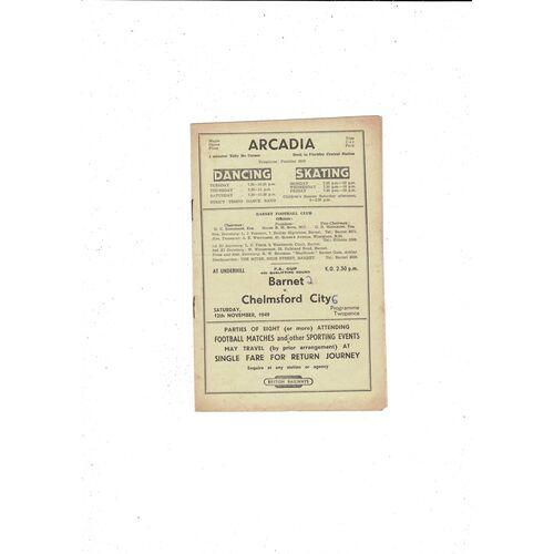1949/50 Barnet v Chelmsford City FA Cup Football Programme