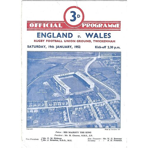 1952 England v Wales Five Nations Rugby Union Programme