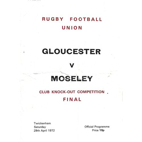1972 Gloucester v Moseley Club Knock-Out Competition Final Rugby Union Programme
