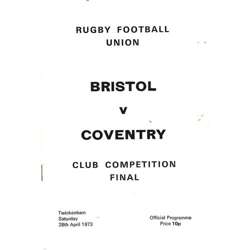 1973 Bristol v Coventry Club Knock-Out Competition Final Rugby Union Programme