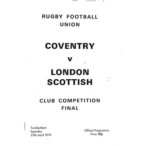 1974 Coventry v London Scottish Club Knock-Out Competition Final Rugby Union Programme