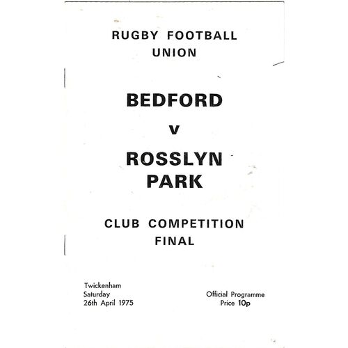 Club Knock-Out Competition Final Rugby Union Programmes