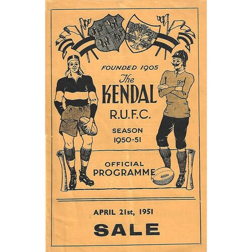 1950/51 Kendall v Sale Rugby Union Programme