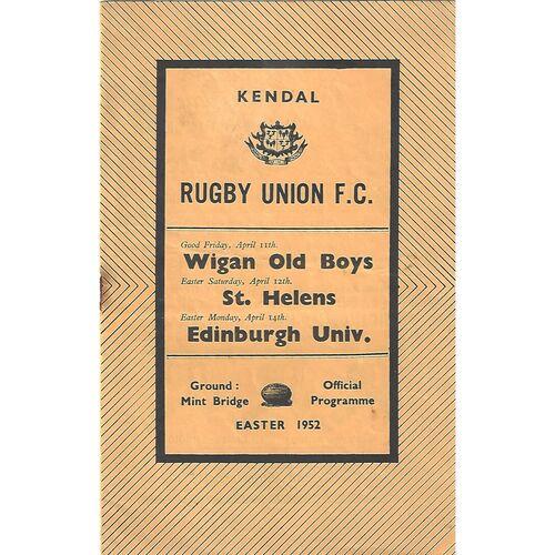 1951/52 Kendal v Wigan Old Boys/St. Helens/Edinburgh University Rugby Union Programme