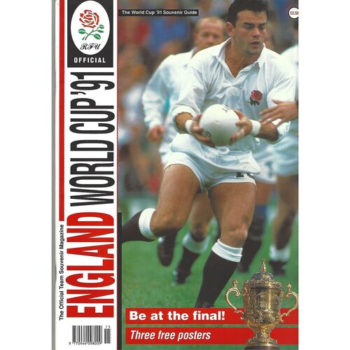 1991 England World Cup 1991 Official Team Souvenir Rugby Union Magazine