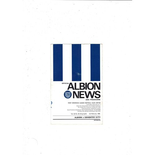 1967/68 West Bromwich Albion v Coventry City Football Programme