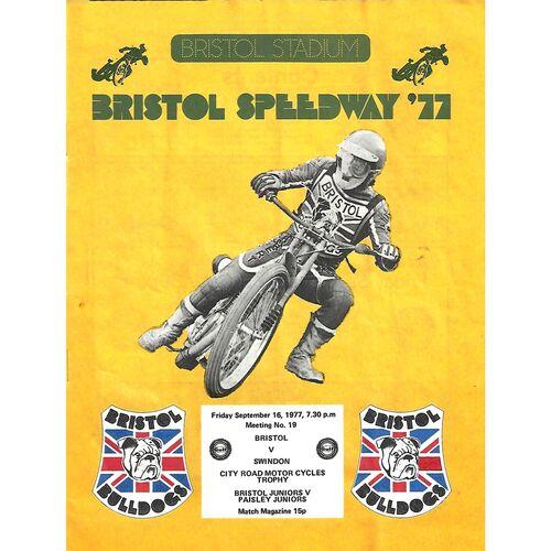 1977 Bristol v Swindon Gulf Oil British League (16/09/1977) Speedway Programme