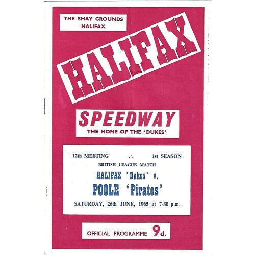 1965 Halifax Dukes v Poole Pirates British League Match (26/06/1965) Speedway Programme