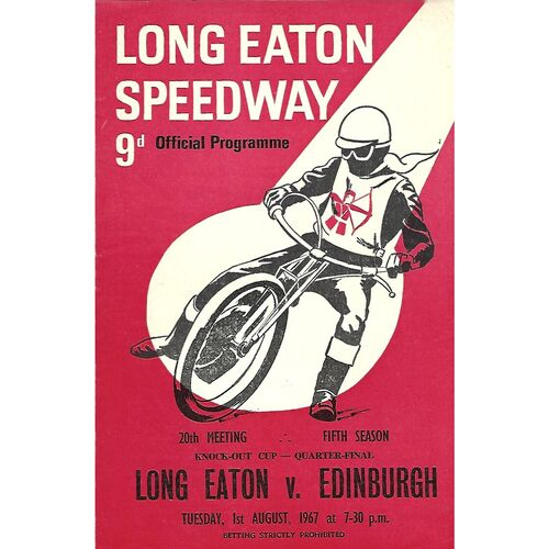 1967 Long Eaton v Edinburgh Knock-Out Cup Quarter Final (01/08/1967) Speedway Programme