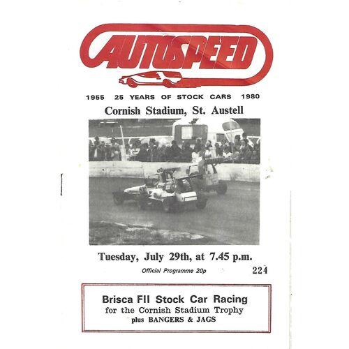 1980 St Austell Cornish Stadium Trophy Meeting (29/07/1980) Stock Car Racing Programme