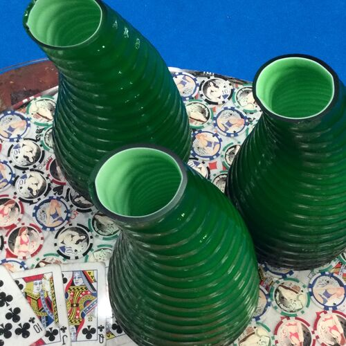 3 Pieces Of Green Art Glass.