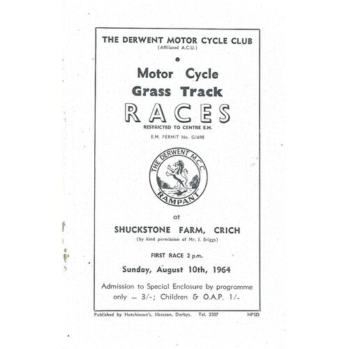 1964 Crich The Derwent Motor Cycle Club Motor Cycle Grass Track Races (10/08/1964) Programme