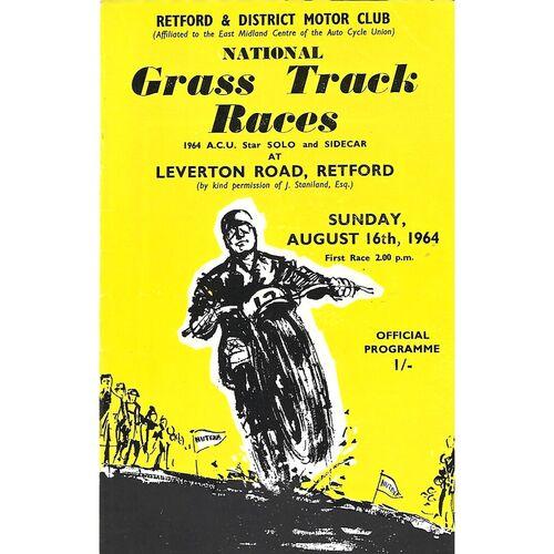 1964 Retford Retford & District Motor Club National Grass Track Races (16/08/1964) Programme