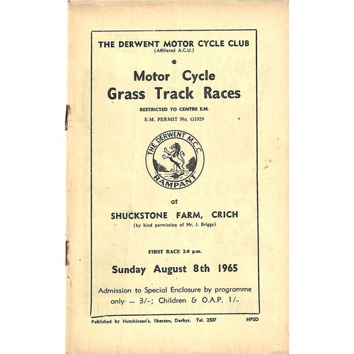 1965 Crich The Derwent Motor Cycle Club Motor Cycle Grass Track Races (08/08/1965) Programme