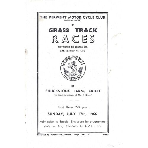 1966 Crich The Derwent Motor Cycle Club Motor Cycle Grass Track Races (17/07/1966) Programme