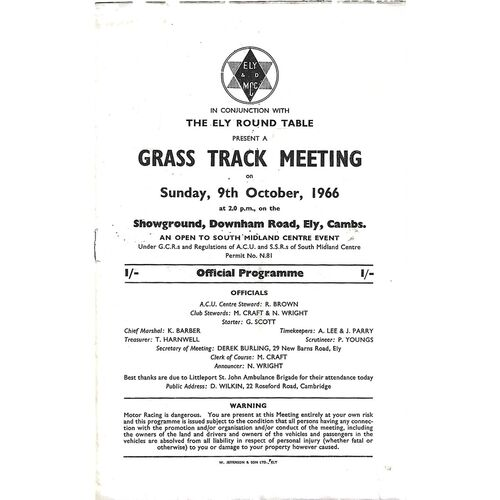 1966 Ely Ely Motor Cycle Club Motor Cycle Grass Track Races (09/10/1966) Programme