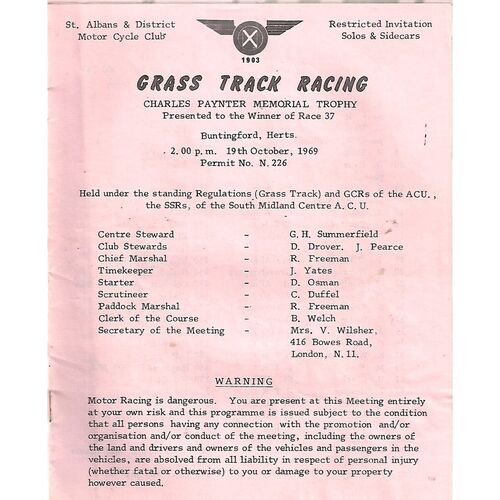1969 Buntingford St. Albans & District Motor Cycle Club Charles Paynter Memorial Trophy Grass Track Races (19/10/1969) Programme