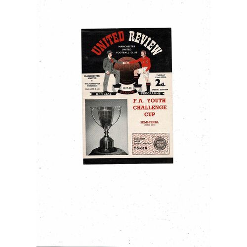 1957/58 Manchester United v Wolves FA Youth Cup Semi Final Football Programme