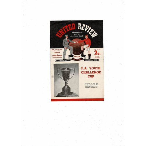 1956 Manchester United v Chesterfield FA Youth Cup Final Football Programme