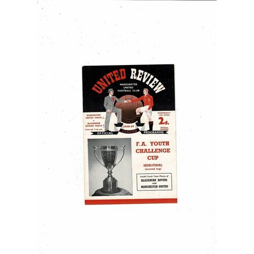 1958/59 Manchester United v Blackburn Rovers FA Youth Cup Semi Final Football Programme