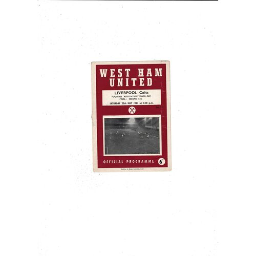 1963 West Ham United v Liverpool FA Youth Cup Final Football Programme