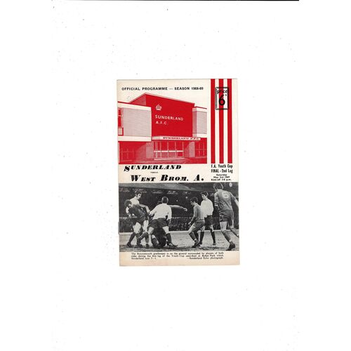 1969 Sunderland v West Bromwich Albion FA Youth Cup Final Football Programme