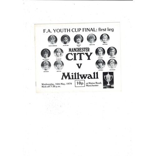 1979 Manchester City v Millwall FA Youth Cup Final Football Programme