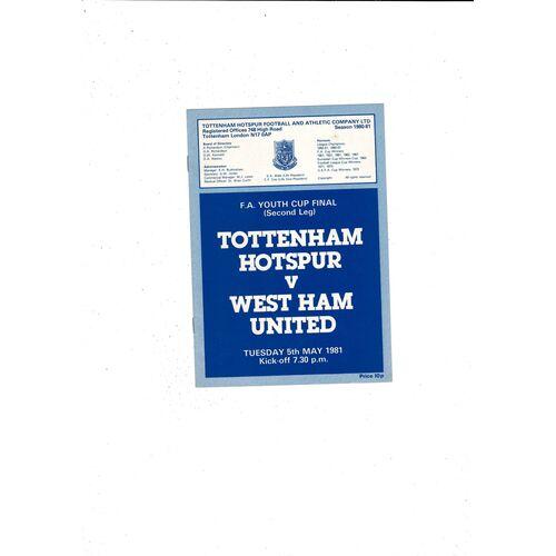 1981 Tottenham Hotspur v West Ham United FA Youth Cup Final Football Programme
