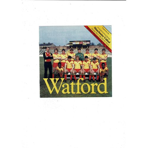 1982 Watford v Manchester United FA Youth Cup Final Football Programme
