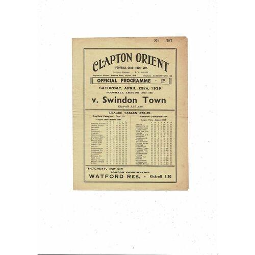 1938/39 Clapton Orient v Swindon Town Football Programme