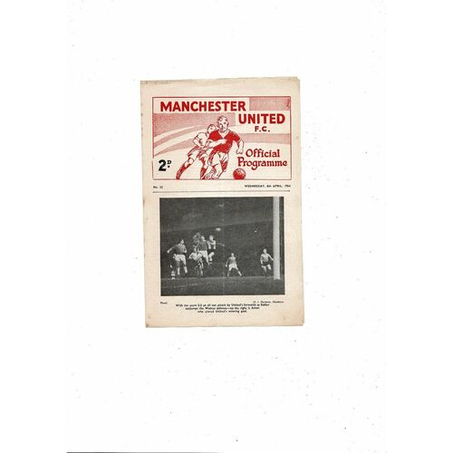 1963/64 Manchester United v Manchester City FA Youth Cup Semi Final Football Programme