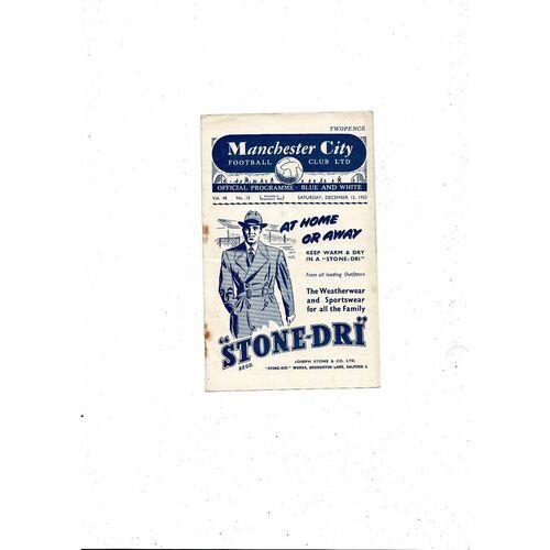 1953/54 Manchester City v Sheffield Wednesday Football Programme