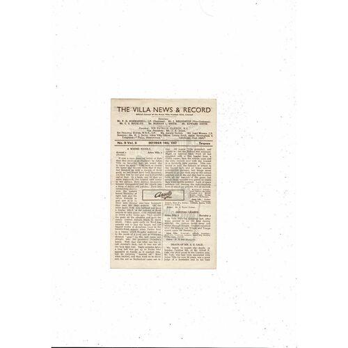 1947/48 Aston Villa v Sheffield United Football Programme
